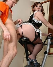 Mature maid with yummy ass cheeks going for some oral and anal exercising